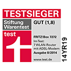 AVM FRITZ!Box 7272 declared test winner by German consumer organization Stiftung Warentest